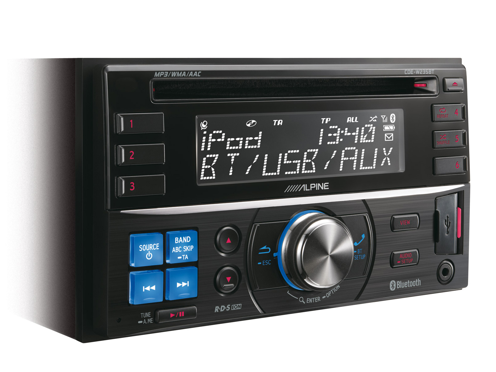2 din cd receiver with advanced bluetooth alpine cde. Black Bedroom Furniture Sets. Home Design Ideas