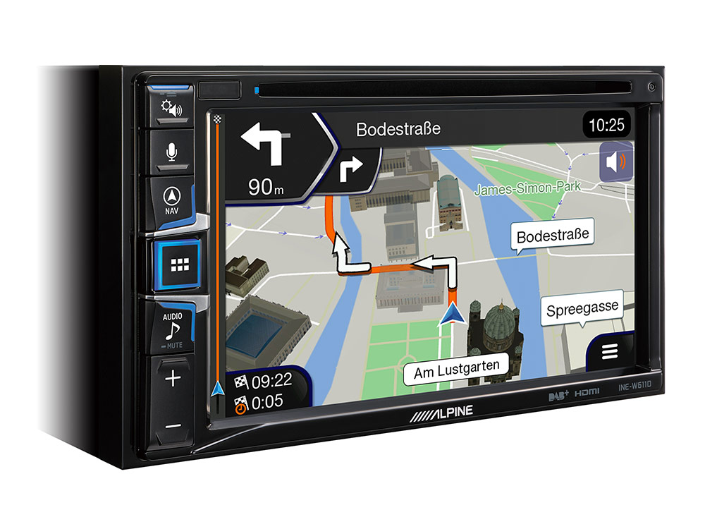6.5-inch Touch Screen, built-in Navigation, DAB+, HDMI, CD/DVD Player and  Apple CarPlay and Android Auto combatibility - Alpine - INE-W611D