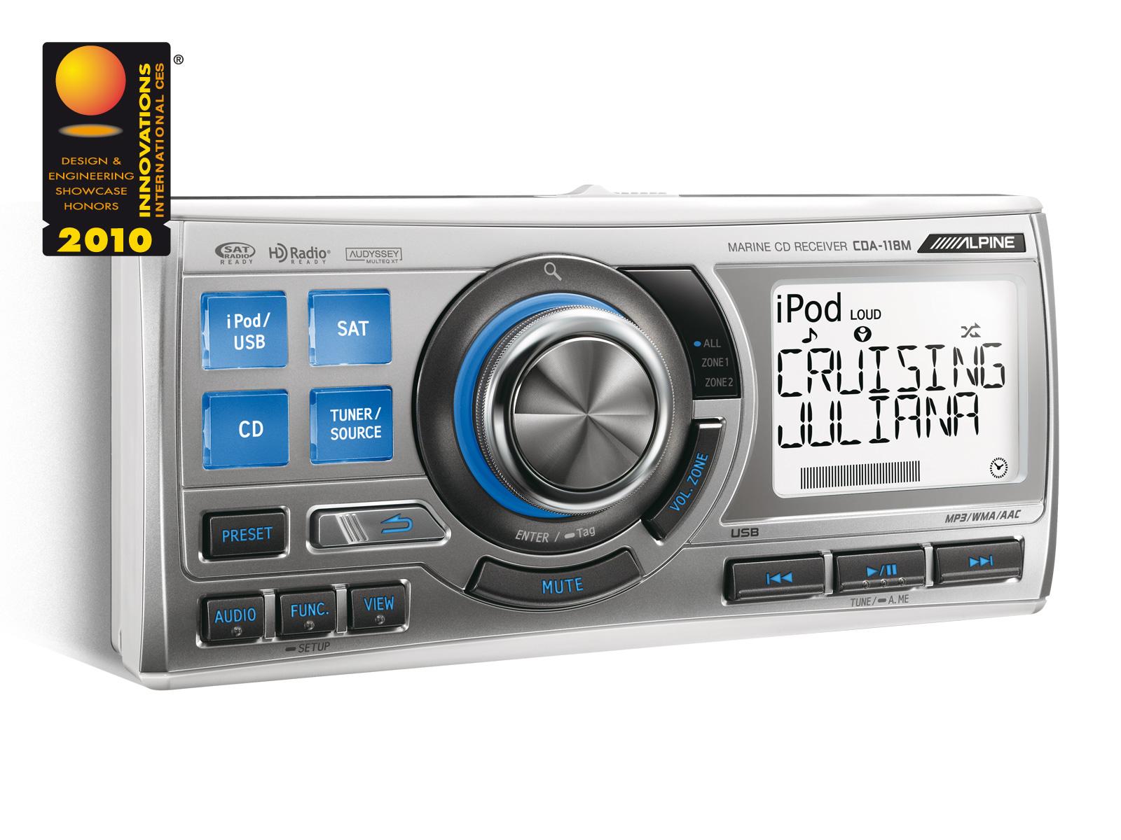 Marine Cd Receiver Ipod Controller Alpine Cda 118m Wiring Additionally 10 Inch Subwoofer Type R On
